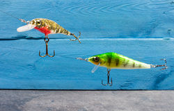 Handmade wobblers. Spinning bait for fishing. Stock Photo