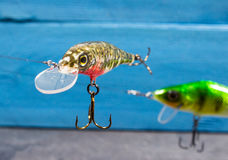 Handmade wobblers. Spinning bait for fishing. Stock Photography