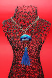 Handmade women blue necklace from glass Royalty Free Stock Image