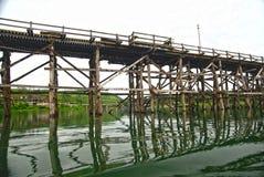 Handmade wood bridge made by Burmese Royalty Free Stock Image