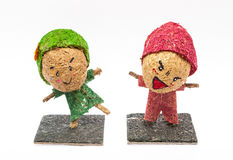 Handmade Wood Fiber Dolls Royalty Free Stock Photography