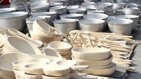 Handmade Wood Pots stock footage