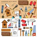 Handmade with wood Stock Photo