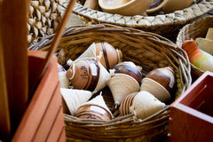 Handmade Wood toys. A basket of wood toys in a store Stock Image