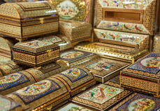 Handmade Wooden Boxes with Marquetry Design in the Form of Persian Khatam Inlay in Isfahan of Iran Royalty Free Stock Photography