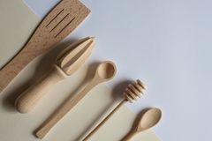 Handmade wooden cutlery royalty free stock images
