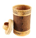 Handmade wooden cylindrical case Royalty Free Stock Photo