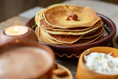 Wooden dishes and food Stock Photo