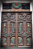 Handmade Wooden Door with Mexican Symbols. And Decorations Stock Images
