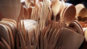 Handmade Wooden Forks and Spoons stock footage