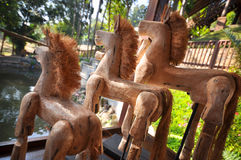 Handmade wooden horse Stock Photo