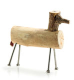 Handmade wooden horse toy. With nails as legs isolated on white background Stock Photos