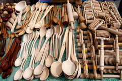 Handmade wooden items. Handmade wooden things on sale in a market Royalty Free Stock Images