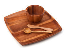 Handmade wooden kitchen dishes Royalty Free Stock Photos