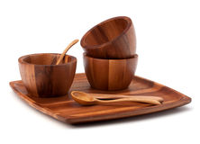Handmade wooden kitchen dishes Stock Photography