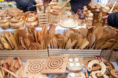 Handmade wooden kitchen utensil tools bazaar fair Royalty Free Stock Photo