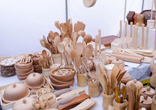 Handmade wooden kitchen utensil tools market fair Stock Images