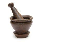 Handmade wooden mortar Stock Image