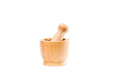 Handmade wooden mortar isolated on white background Royalty Free Stock Image