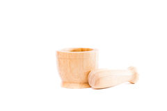 Handmade wooden mortar isolated on white background Stock Image