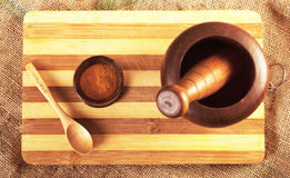 Handmade wooden mortar Royalty Free Stock Images