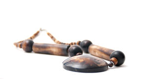 Handmade wooden necklace Stock Image