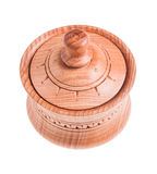 Handmade wooden pot isolated on white background Royalty Free Stock Photography