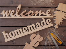 Handmade wooden sign Stock Image