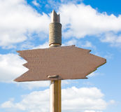Handmade Wooden Signpost. Over Blue Sky (just add your text Royalty Free Stock Photography