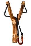 Handmade Wooden Slingshot on White Royalty Free Stock Image