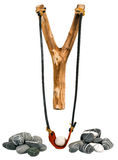Handmade Wooden Slingshot on White Royalty Free Stock Photos