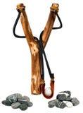 Handmade Wooden Slingshot on White Stock Photography