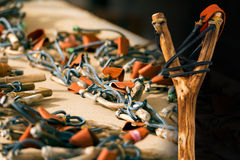 Handmade Wooden Slingshots Royalty Free Stock Images