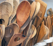 Handmade wooden spoons presented in a shop Royalty Free Stock Images
