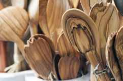 Handmade wooden spoons presented in a shop Stock Image