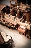 Handmade wooden toy trains Royalty Free Stock Photo