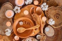 Handmade wooden utensils. Various handmade wooden kitchen utensils on wooden background Stock Photography