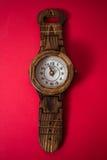 Handmade Wooden Wall Clock Stock Images
