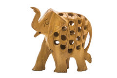Handmade wooden yellow elephant with holes on isolated background Stock Images