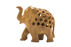 Handmade wooden yellow elephant with holes on isolated background Royalty Free Stock Image