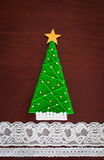 Handmade wool Christmas tree. Stock Image