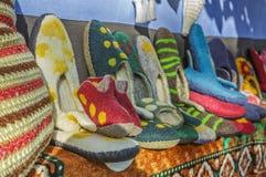 Handmade wool and felt slippers Stock Photography