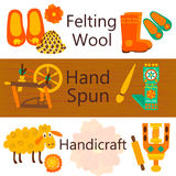 Handmade wool products colorful web banners. Vector illustration of items for felting wool and knitting Stock Photo