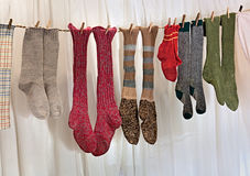 Handmade wool socks Royalty Free Stock Photos