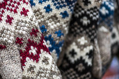 Handmade wool socks. Vintage handmade wool socks with the pattern, ornament Royalty Free Stock Photo