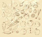 Handmade work - set fruits and vegetables Stock Photos