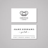 Handmade workshop business card design concept. Handmade workshop logo with hands making heart. Vintage, hipster and retro style. Black and white stock illustration