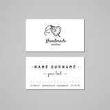 Handmade workshop business card design concept. Handmade workshop logo with heart and needle. Vintage, hipster and retro style. Black and white Royalty Free Stock Photos