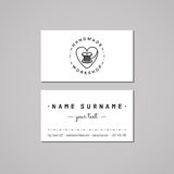 Handmade workshop business card design concept. Handmade workshop logo with heart and thread spool. Vintage and hipster style Royalty Free Stock Photography