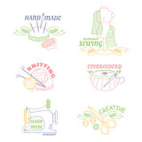 Handmade workshop logo set for painting cross stitching sewing and knitting. Stock Photo